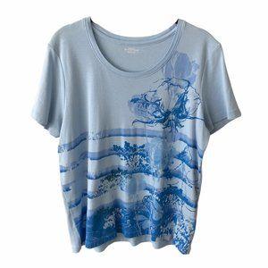 Northern Reflections Blue Floral Grandma Shirt XL